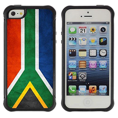 Graphic4You Vintage Uralt Flagge Von Südafrika South Africa Design Shockproof Anti-Rutsch Weichen Hülle Case Tasche Schutzhülle für Apple iPhone SE / 5 / 5S Drapeau Sud-africain Afrique du Sud