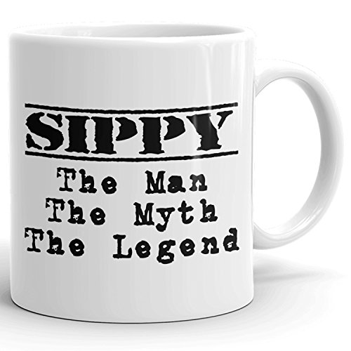 Sippy Coffee Mug Kaffeetasse Kaffeebecher Personalisiert mit Name- The Man the Myth the Legend - Beste Geschenke Gift for Männer Men - 11 oz White - Saft Sippy Cup