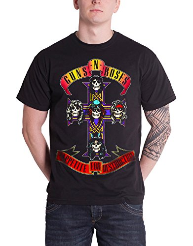 Guns N Roses T Shirt Appetite For Destruction Band Logo Official Mens Black