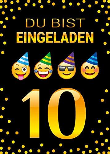 Junaversum 12 Einladungskarten zum 10. Geburtstag Kinder zehnte Kindergeburtstag