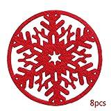 Diamoen 8pcs Natale Atmosfera Neve Forma Coaster Decorazione della tavola Tessuto Non Tessuto in Feltro stuoia della Tazza