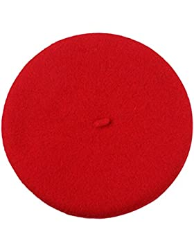 TININNA Autunno e Invernale Moda Caldo Colore solido Berretto per bambini Cappello di lana Beanie Hat Beret(Rosso)