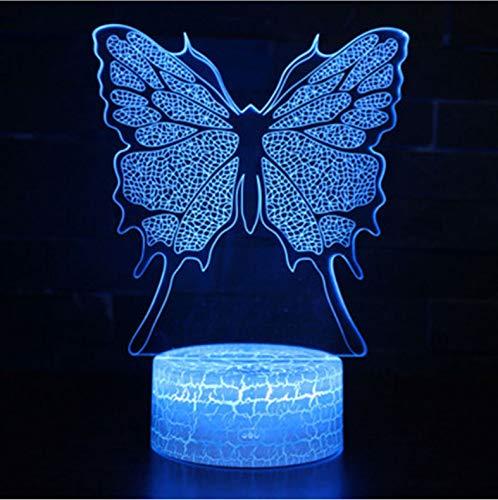 Nachtlicht Für Kinder 3D Illusion Nachtlicht, Touch Button Tisch Schreibtischlampe Mit 7 Farben Licht Für Weihnachten Halloween Geburtstagsgeschenk (Tanzen Schmetterlinge Thema) (Tanzen In Halloween-nacht Der Nur)
