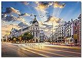 Panorama Lienzo Gran Via Madrid 30 x 21 cm - Impreso en Lienzo Bastidor - Cuadros Decoración Salón...