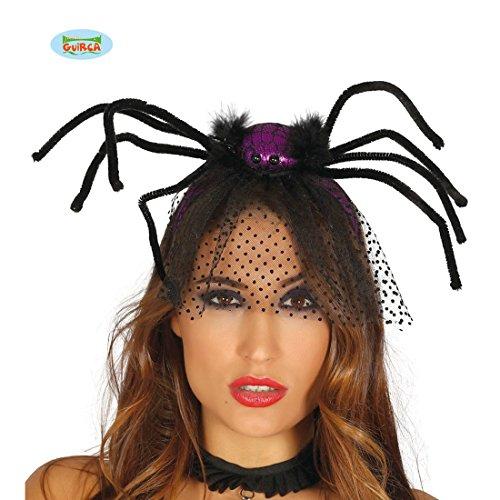 Amakando Gothic Spinnenhaarreifen - schwarz-lila - Schwarze Witwe Haarreif Halloween Haarschmuck Spinne Hexen Kopfschmuck Kostüm Accessoire Damen Spinnen Diadem mit Schleier