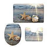 Chaqlin - Set di tappetini da bagno in 3 pezzi, in flanella resistente, con disegni di stelle marine e conchiglie; con copriasse, girowater e tappeto grande moderno Starfish-7