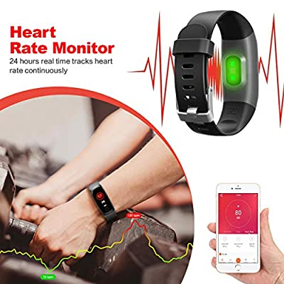 Kilponen Fitness Tracker with Heart Monitor - Smart Watch Fitness Wristband Blood Pressure Bracelet Activity Tracker Waterproof IP67 with Stopwatch, GPS, Pedometer, Step Counter for Kids Women Men by Kilponen