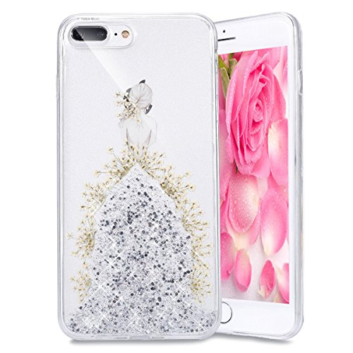 EMAXELERS iPhone 7 Plus Case Transparent Clear Glitzer Crystal Liquid Silikon Hülle,iPhone 7 Plus Hard Hülle,iPhone 7 Plus Hülle Rosa,iPhone 7 Plus Hülle Bling 3D Kreative Plastik Case Etui für iPhone I Girl TPU 4
