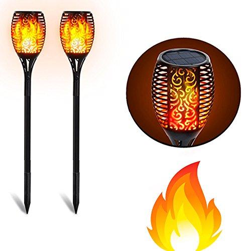 barcelonaled Pack 2Lampe Fackel Tiki Solarleuchte Erdspieß LED IP65mit Leuchtmittel Flamme Feuer-Effekt für Garten Außen–SL10