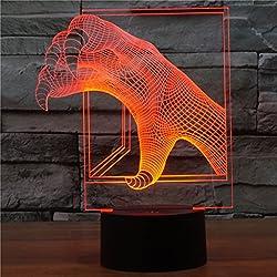 ZWL 3D lámpara de mesa pequeña, Creative llevó dragón garras de la lámpara de siete colores táctiles de luz visuales Decoración de la boda USB Plug en día de San Valentín lámpara de mesa interruptor táctil Moda.z ( Tamaño : 207*160*87mm )
