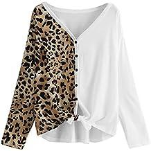 Luckycat Ropa Camisetas Mujer, Estampado de Leopardo Patchwork Blusa para Mujer Camisetas Mujer Camisas Mujer