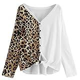 Jaminy Damen Pullover Flocksweat Pulli Mit Rundhalsausschnitt,Damen Langarm Leopard Print Panel Knot Hem T-Shirt Bluse Tops S-XL (Khaki, M)