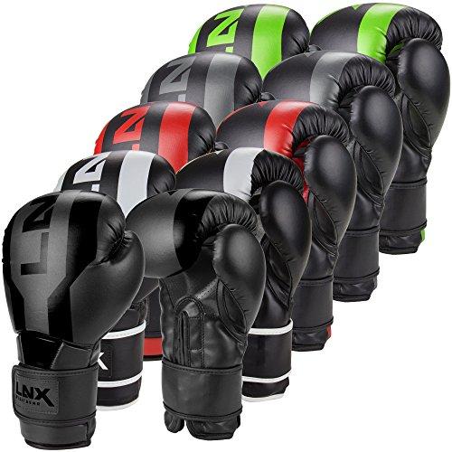 LNX Boxhandschuhe Stealth - Männer Frauen 8 10 12 14 16 Oz - ideal für Kickboxen Boxen Muay Thai MMA Kampfsport UVM schwarz/weiß (003) 10 Oz