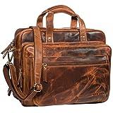 STILORD 'Walt' Vintage Aktentasche Leder Herren Damen Lehrertasche XL groß Büro Business Umhängetasche für 15,6 Zoll Laptop Echt Leder, Farbe:Kara - Cognac
