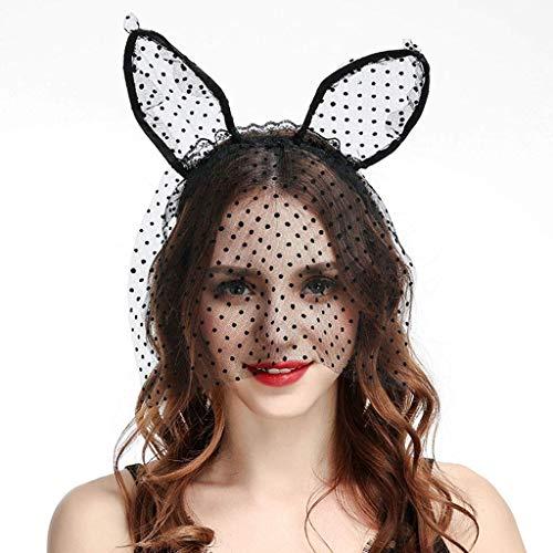 Vektenxi Frauen Katze Ohr Krone Spitze Maske Schleier Welle Punkt Haarband Halloween Party Stirnband langlebig und praktisch (Mutter Niedliche Und Für Tochter Halloween-kostüme)