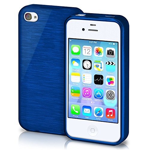 iPhone 4S Hülle Silikon Silber [OneFlow Brushed Back-Cover] TPU Schutzhülle Ultra-Slim Handyhülle für iPhone 4/4S Case Dünn Silikonhülle Rückseite Tasche NAVY-BLUE