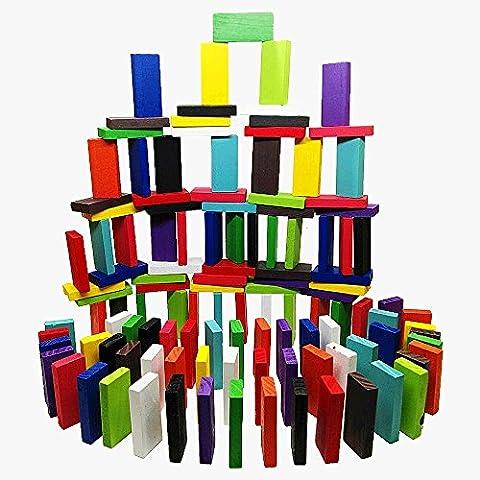 dominó Domino Rally niños Juguetes de madera 12 Color Juegos de carreras Niños Educativo juego juguetes 120 PC