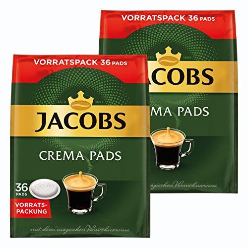 Jacobs Crema Kaffeepads, Vorratspackung, für alle Pad Maschinen, 72 Kaffee Pads, á 6.6 g