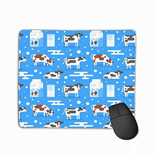 Gaming Mouse Pad Oblong Shaped Mouse Mat 11.81 X 9.84 Inch Seamless Pattern Gazing Cow Flat Style Gazing Cow Milk Package Glass Blue Background Fashion Blue Milk Glass