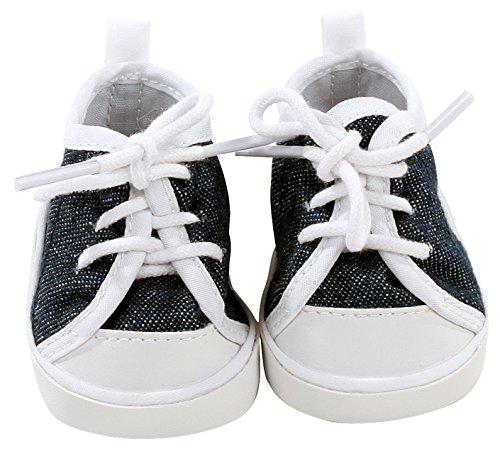 Götz 3402544 Sneaker Denim Puppenschuhe - Puppenkleidung & Puppenzubehör für Babypuppen Gr. M von 42-46 cm und Stehpuppen Gr. XL von 45-50 - Puppe Schuhe