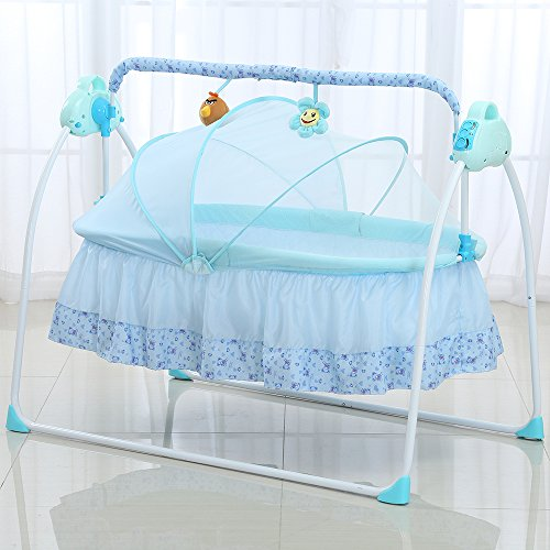 Decdeal Automatische Baby Wiege Elektrische Babyschaukel für 0-36 Monate 3 Schaukelgeschwindigkeit, 12 Melodie, MP3-Player Inkl. USB-Flash-Disk