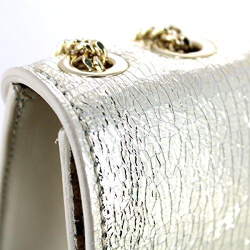 Patrizia Pepe Fantasy Shiny Umhängetasche Leder 20 cm GOLD