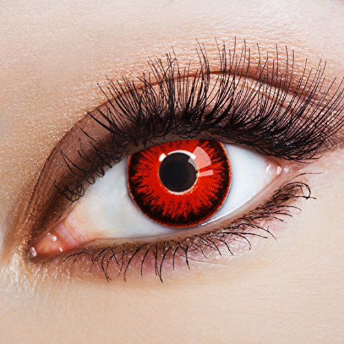 aricona Kontaktlinsen - Deckende Kontaktlinsen ohne Stärke - Rote Kontaktlinsen für Halloween & Kostüm-Partys