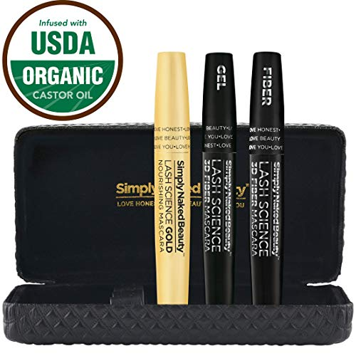 3d Fiber Lash Mascara Gold by Simply Naked Beauty - with Eyelash Enhancer Mascara Base - Waterproof Alternative to False Eyelashes and Extensions. Sweat Proof Smudge Proof. Makeup Kit Must -USA-