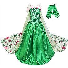 GenialES® Disfraz Vestido con Guantes Verde de Princesa Largo Lindo Regalo Cumpleaños Disfraz de Carnaval Fiesta Cosplay Halloween para Niñas 2 a 8 Años