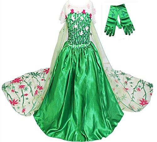 GenialES Costume Principessa Vestito Guanti Verdi lunghi Regalo Carino Cerimonia Cosplay Festa Compleanno Carnevale Halloween Bambina 2-8 anni