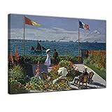 Leinwandbild - Claude Monet - Die Terrasse von Sainte-Adresse - 120x90cm XXL einteilig - Alte Meister - Bilder als Leinwanddruck - Kunstdruck - Leinwandbilder - Bild auf Leinwand - Wandbild von Bilderdepot24