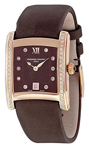 Frederique Constant Delight Brown Dial Brown Satin Strap Ladies Watch FC-220CHD2ECD4