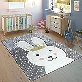 Paco Home Kinderteppich Kinderzimmer Konturenschnitt Gepunktet Hase Krone Modern Grau, Grösse:160x230 cm