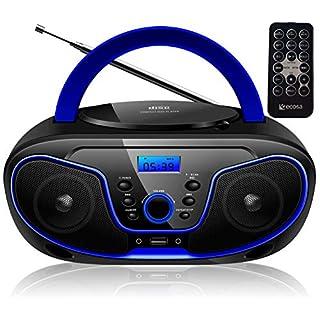 Tragbarer CD-Player | Boombox | CD/CD-R | USB | FM Radio | AUX-In | Kopfhöreranschluss | CD Player | Kinder Radio | CD-Radio | Stereoanlage | Kompaktanlage... (Dark Blue)