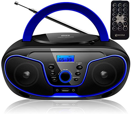 Tragbarer CD-Player | Boombox | CD/CD-R | USB | FM Radio | AUX-In | Kopfhöreranschluss | CD Player | Kinder Radio | CD-Radio | Stereoanlage | Kompaktanlage... (Dark Blue)