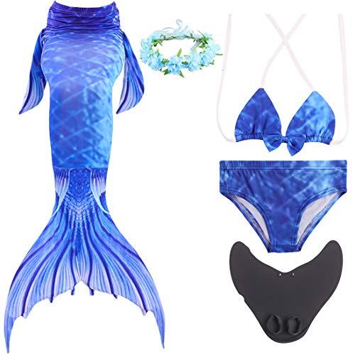 Magogo Meerjungfrau Schwanz Swimmable mit Schwimmflossen Training Flippers verziert Kranz, Mädchen Princess Bikini Set Cosplay Badeanzug Kostüm (M 111-120cm, 139)