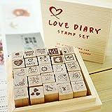 chengyida Holz Gummi Stempel Set-25Arten Korea DIY Woodiness Gummi stamp-diary Stempel Set --- Love Milchprodukte
