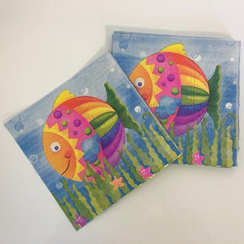 20 Papierservietten * BUNTER FISCH * für Kindergeburtstag oder Mottoparty // Servietten Napkins Fish Meerestiere