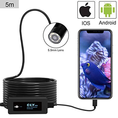 Endoscope USB, CLY OTG Endoscope Portable 5.5mm HD, 5M Avec 6 LED Adjustable, 2.0 Mégapixel...