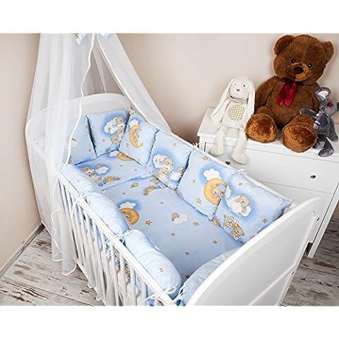 Baby paracolpi paracolpi lettino 420cm Design: orsetto su della Scala Blu–Paracolpi protezione bordi per la testa per letto Baby letto caratteristiche