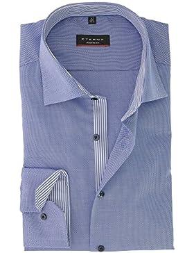 ETERNA Herren Langarm Hemd aus 100% Baumwolle Modern Fit mit Kent Kragen Gr. 42 Natté Blau Strukturiert