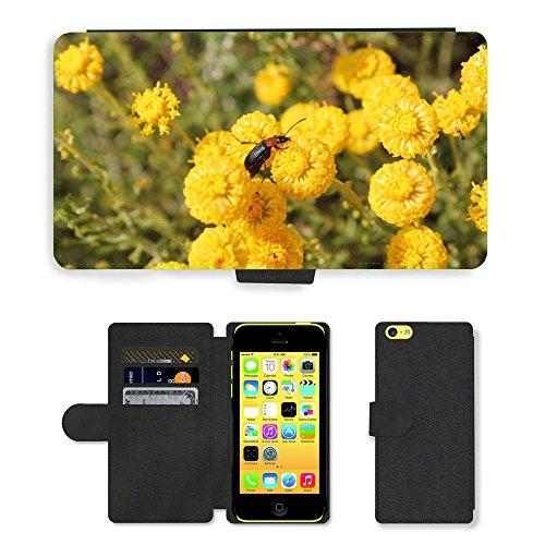 Just Mobile pour Hot Style Téléphone portable étui portefeuille en cuir PU avec fente pour carte//m00139988insectes Fleurs Nature//Apple iPhone 5C Jaune