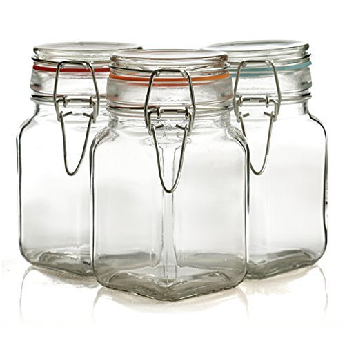 Grant Howard Bail and Trigger 8 Ounce Square Storage Jar, Set of 3 by Grant Howard - Square Storage Jar