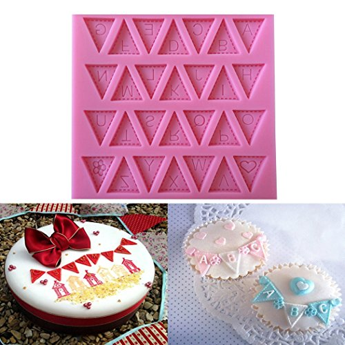 Karen Baking Buchstabe-Flagge Silikon-verzierender Schokoladen-Kuchen-Form-Fondant-backendes Werkzeug-Rosa