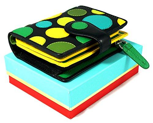 """Visconti portafoglio di pelle da donna Polka"""" Multicolor Purse (P3): (lily pad (toni del verde/blu)) lily pad (toni del verde/blu)"""