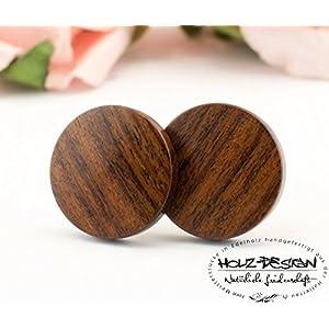 Rustikale Holz Ohrstecker Ø11mm Mini Ohrringe Dünne runde kleine hölzerne Ohrstecker Fake Plugs wood earrings wooden ear studs naturschmuck