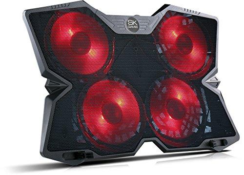 SKGAMES Notebook Laptop Kühler Gamer Kühlpad Ständer Kühlmatte Cooler Cooling Pad Unterlage für 10 - 17 Zoll, 4 x LED Lüfter, Schwarz Laptop Notebook-rot