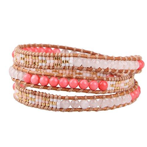 der Frauen Rosa Koralle Achat Mischen Rocailles Perlen Wickelarmband Damen Armband Manschetten Leder Armbänder ()