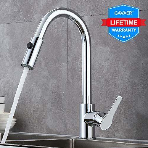 GAVAER Küchenarmatur mit Brause Extrahierbar, 360° Schwenkbar Design, 2 Modus Wasserhahn Küche, Bleifreies Messing Verchromt, mischbatterien für küche Lebenslange Garantie.