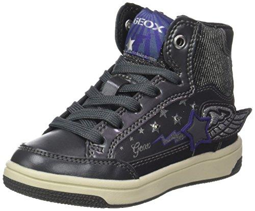 Geox Mädchen Jr Creamy A Hohe Sneaker, Silber (Dk Silver/Violet), 26 EU (Kinder Geox Turnschuhe)
